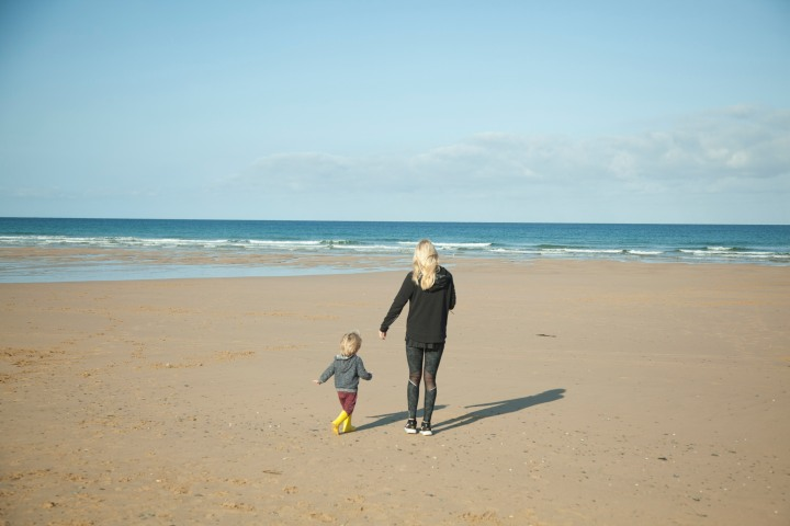 Walking on the beach at Watergate Bay